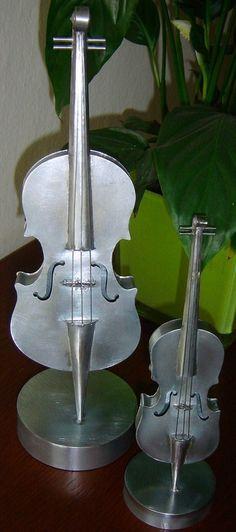 hand made metal violins