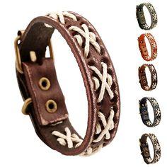 Vintage Woven Leather Bracelet Women Men Charm Jewelry  Retro Bangles 1pc…