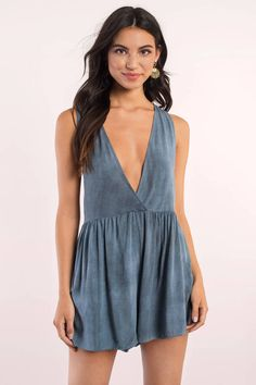 """Search """"Gabby Plunging Romper"""" on Tobi.com! #ShopTobi #fashion #summer #spring #festival Music festival coachella vacation travel packing simple chic boho bohemian chic fashion style fashionable stylish comfy hot weather spring summer trendy tribal patterned shop buy cheap inexpensive ideas for women teens cute sexy edgy college outfit outfits plunging neckline blue cobalt ruffles casual"""
