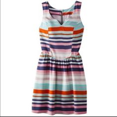 Beautiful colorful striped summer dress Zips and ties in the back. Really light material. Xhilaration Dresses Mini