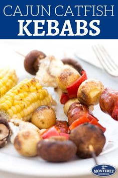 Cajun catfish kebabs are a great summer grilling recipe! You'll love this healthy catfish recipe that's made in under 20 minutes. Best Mushroom Recipe, Mushroom Recipes, Catfish Recipes, Seafood Recipes, Cajun Recipes, Kebabs On The Grill, Skewer Recipes, Healthy Grilling Recipes, Stuffed Mushrooms