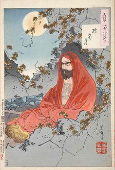 Yoshitoshi Tsukioka.『破窓月』(『月百姿』シリーズ、作・月岡芳年)