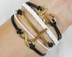 gold braceletsanchor braceletcross by lifesunshine on Etsy, $6.99