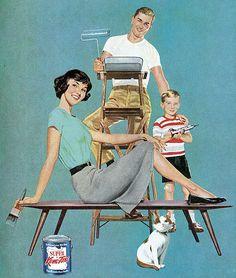 La famille qui peint ensemble, reste ensemble : peinture famille vintage des années 1950 2389