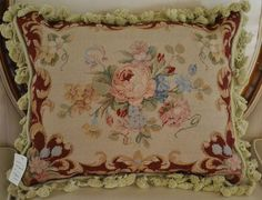 """16"""" x 20"""" French Country Style Handmade Petite Point Needlepoint Pillow"""