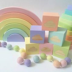Creative Rainbow Stacker Montessori Educational Toy 🌈 Promotes your child Creativity and imagination. 🌈 Amazing Learning Tool 🌈 A high-quality large sunset rainbow building block.hand-polished and corners, which makes the building blocks less likely to break and will not scratch your hands and children.The most original quality of the wood is preserved, and a layer of non-toxic water-based paint is sprayed so that you can see the grain of the wood while playing. Rainbow Room, Rainbow Nursery, Rainbow Baby, Wooden Blocks Toys, Wood Toys, Wood Blocks, Toddler Toys, Baby Toys, Diy Educational Toys