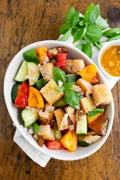 If you're looking for the perfect summertime salad I have you covered! This grilled sourdough Panzanella salad is packed full of fresh summer tomatoes, cucumbers, grilled sourdough bread croutons, and drizzled with a homemade tomato water vinaigrette! #salad #summersalad #nutmegnanny Summertime Salads, Summer Salads, Fancy Dinner Recipes, Dinner Ideas, Summer Tomato, Healthy Salad Recipes, Vegan Recipes, Recipe Please, Salad Ingredients