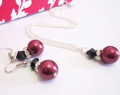Wedding Jewelry Set Burgundy Cranberry Red Pearl by SLDesignsHBJ