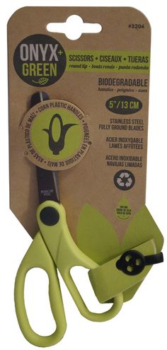 """Rounded Tip Scissors With Corn Plastic Handles - 5"""" - Onyx & Green"""