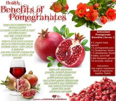pomegranates health benefits. Yum! I add pomegranates to my smoothies as well. :) Delish!