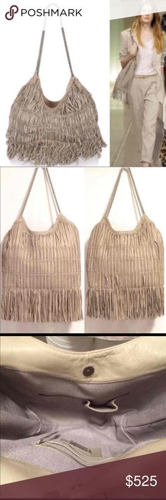 *RARE* Elie Tahari Fringe Runway Perforated Tote Amazing hard to find tote from Tahari's runway collection. Retail at Bloomies was $1,198. Excellent condition. Some scuffs on button closure, one broken fringe. A few fringe pieces are pulled out a bit but thats the look! I hardly used this tote so it kept a more structured shape. The inside is so roomy! Silver hardware. Chain top handles; 11″ drop. Button snap closure. Sewn panels of slashed leather and chain extend into fringe. Beige lining…