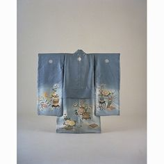 Girls Furisode (Long-Sleeved Kimono) with Flower Arrangements on Light Blue Ground, Meiji Period, 19th c, Kyoto National Museum