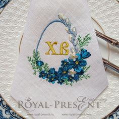 Machine Embroidery Design Easter blank monogram with spring flowers - 2 sizes