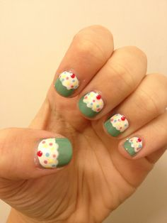 Cupcake Nail Design!  Super cute I would do this if I could but I'm no good at nails  What do you guys think would you do this to your nails or not  Thanks for following and if you like my board remember to tell your friends and family and spread the word of my board.  Thanks :) (: