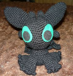 """A free pattern for a crocheted Toothless amigurumi. Toothless is a Night Fury dragon from Dreamworks' movie """"How To Train Your Dragon."""""""