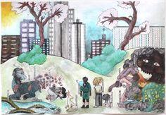 """Ici, il fallait s'inscrire dans une culture étrangère, très différente de la notre. J'ai donc choisi le Japon, me sentant spirituellement proche de ce folklore. Et plus précisément """"l'urbanisanisation des cultures"""", avec comme exemple les yokai (démons), lentement étouffés par le progrès, la destruction de leurs lieux de vie."""