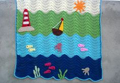 Crochet baby blanket pattern waterworld ripple by Thehobbyhopper