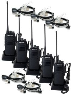 Retevis RT1 10W UHF Two Way Radio 400-520 MHz 16CH VOX 1750Hz Handheld Transceiver and 2 Pin PTT Covert Acoustic Earpiece (5 Pack)