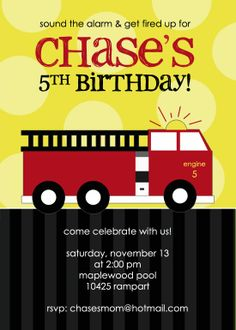 Fire Truck Birthday Invitation by announcingyou on Etsy, $15.00