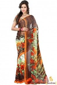 Best brown gajri color georgette saree for office meeting will suits to all the young women who have pear shape body. This perfect georgette saree is worth to shop online #saree, #casualsaree more: http://www.pavitraa.in/store/georgette-saree/