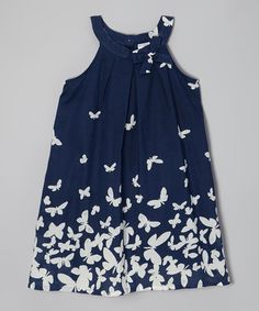 Look at this Navy & White Butterfly Yoke Dress - Toddler & Girls by Yo Baby Cute Girl Outfits, Cute Outfits For Kids, Toddler Girl Outfits, Little Girl Dresses, Toddler Dress, Girls Dresses, Toddler Girls, Fashion Kids, White Butterfly
