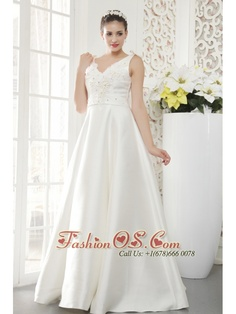 Brand New A-line / Princess V-neck Floor-length Satin Beading Wedding Dress    http://www.facebook.com/quinceaneradress.fashionos.us  www.fashionos.com  If you're looking for a traditional style wedding gown, this one takes the cake! It has a lovely straps bodice with a V-neckline and pretty bows on the top shoulder. Several floral appliques adorn the upper bodice of the dress, just above the waistline of the skirt. The skirt is full made of satin that's been embellished with beaded…