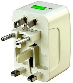 This is a white universal worldwide travel charger adapter plug. This adapter plug will convert power outlets when traveling abroad. Be prepared wherever life takes you with this worldwide travel char Travel Checklist, Travel Essentials, Travel Tips, Travel Destinations, Travel Stuff, Travel Packing, Thing 1, Worldwide Travel, Travel Gadgets
