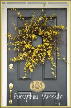 FORSYTHIA WREATH DIY - tutorial (using cherry blossoms) at http://www.stonegableblog.com/tutorial-spring-wreath/