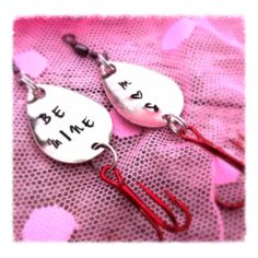 Valentine's Fishing Lures for Fisherman Hooked by MamaDramaJewelry, $29.00