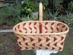 Handmade Large Red and Tan Woven Market Basket by GinnyDareBaskets, $79.00