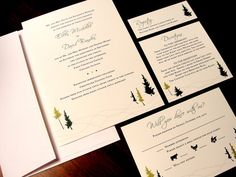 Soft White Rolling Hills Holiday Winter Party Custom Color Wedding Invitation Classic Elegant Modern Affordable Personalized Clean Simple Monogram Winter Tree Branches Green Brown Chocolate Snow Ski December January February Hill