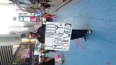 look what the economy has made him do... Yeah right! Only in New York... hahahahaha!