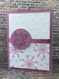 Use embossed white card and and any patterned paper with corcdinated colour card and ribbon Stamped Christmas Cards, Christmas Cards To Make, Christmas 2016, Holiday Cards, Handmade Christmas, Christmas Ideas, Stampin Up Weihnachten, Star Cards, Snowflake Cards