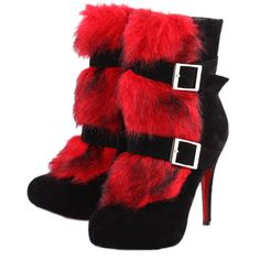 red fluffy boots!