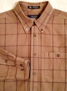 ADVENTURE JOHN ASHFORD Brown Plaid Cotton Man's Casual Shirt sz M #JohnAshford #ButtonFront