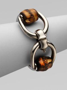 Gucci Bamboo Horsebit Sterling Silver Bracelet in Silver