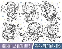 Cute Animal Astronaut Clipart Images, Owl Astronaut, Woodland Astronaut Clipart, Cute Astronauts, Astronaut Digital Stamps, Fox Panda Monkey