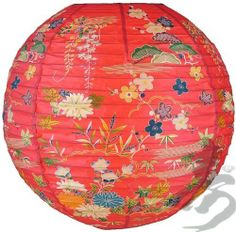 """14"""" Red Origami Floral Paper Lantern (6 Pack) by Asian Import Store, Inc.. $16.95. Round paper lantern with a Japanese Floral print. Paper lantern is held open with a wire expander.   Dimensions: 14"""" dia Quantity: 6 Pack"""