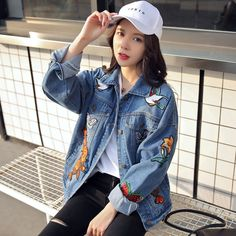 2017 Women spring/Autumn Vintage Tiger Embroidered Denim Jacket Lapel Long Sleeve Single-breasted Fashion Basic Coat veste Basic