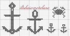 anchors - free embroidery chart by iltelaio-povolaro Cross Stitch Sea, Cross Stitch Cards, Cross Stitching, Cross Stitch Embroidery, Filet Crochet Charts, Knitting Charts, Cross Stitch Designs, Cross Stitch Patterns, Tapestry Crochet