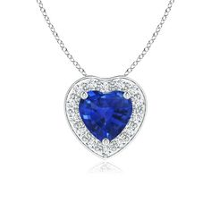 Angara Floating Oval Blue Sapphire Pendant with Diamond Halo