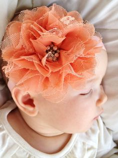 Apricot Peach Chiffon & Lace Flower Headband (Newborn Headbands, Hair Clip,Baby Headbands, Toddler,Girls)