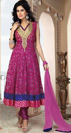 Aesthetic #Magenta #Net Anarkali Suit