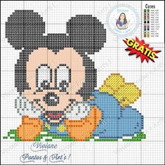 quilting like crazy Crochet Stitches Chart, Graph Crochet, Crochet Blanket Patterns, Cross Stitch Charts, Cross Stitch Designs, Cross Stitch Patterns, Baby Mickey, Mickey Mouse Blanket, Mickey Minnie Mouse