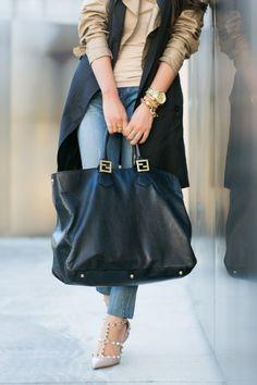 Sleeveless Trench Vest, Fendi leather tote, Valentino pumps