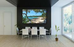 Photo Art: Minimalistisch & Modern! Der klare, moderne Charakter des offenen Essbereiches wird durch die persönliche Urlaubsaufnahme ergänzt. Der Schwelgen in Urlaubserinnerungen wird so zum stilitischen Raumelement.