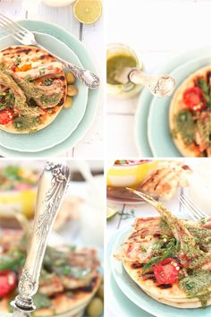 Lamb chops with herb pesto & olives !!