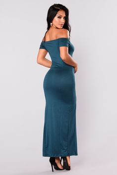 Available in Black, Wine and Hunter Off Shoulder Dress Maxi Length Bodycon Fit Front Side Slit Cap Sleeves Made in USA Polyester Spandex Hot Dress, Hunter Green, Cap Sleeves, Off The Shoulder, Sexy, Black, Dresses, Fashion, Vestidos