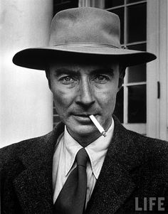 """Julius Robert Oppenheimer (Apr 22, 1904 – Feb 18, 1967) Theoretical Physicist and Professor of Physics at University of California, Berkeley. With Enrico Fermi, he is called """"Father of the Atomic Bomb"""" for his role in the Manhattan Project, World War II Project that developed the first nuclear weapons. First atomic bomb was detonated on July 16, 1945, Trinity test in New Mexico; He remarked later that it brought to mind words from Bhagavad Gita: """"Now, I am become Death, the destroyer of worlds."""""""