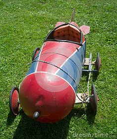 A non-motorized gravity powered rocket shaped race car from the 1960s.